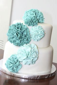 ruffle pompom fondant cake