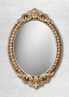Овальное зеркало в раме «Веницианское» Слоновая кость Золото Патина