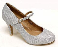 Bella Marie Helena-13 Women's #Almond #Toe low #Heel mary jane glitter or suede pumps,8.5 B(M) US,Silver. Read more description on the website.