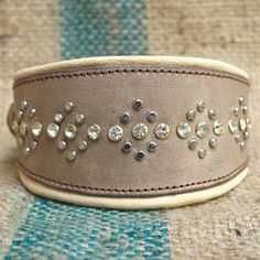 Real-Leather-Crystal-Padded-Dog-Collar-Designer-Lurcher-Greyhound-Whippet-SZ-XS