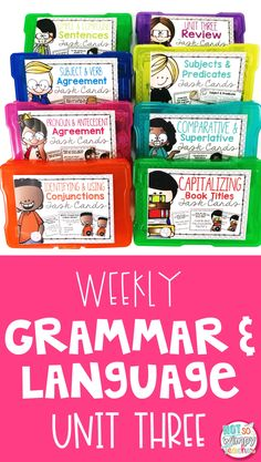 This grammar unit includes daily activities for teaching grammar and language. You will receive PowerPoint mini lessons, interactive notebook activities, writing activities, task cards and assessments. Skills include: *comparative and superlative adjectives and adverbs *Subjects and predicates *Conjunctions *Subject and verb agreement *Pronoun and antecedent agreement *Simple and compound sentences *Capitalizing book titles *a week of review Grammar Activities, Teaching Grammar, Grammar Lessons, Daily Activities, Writing Activities, Teaching Writing, Writing Ideas, Subject And Predicate, Subject And Verb
