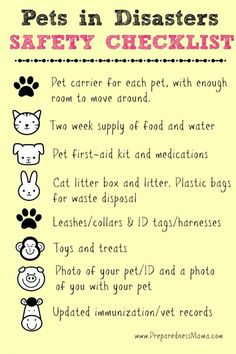 Pet Safety Checklist - Our pets are our friends, what would we do without them? Learn how to keep them safe during disasters! Emergency Preparedness Kit, Emergency Preparation, Emergency Supplies, Survival Prepping, Survival Skills, Survival Supplies, Cat Supplies, Hurricane Preparedness Kit, Tornado Preparedness