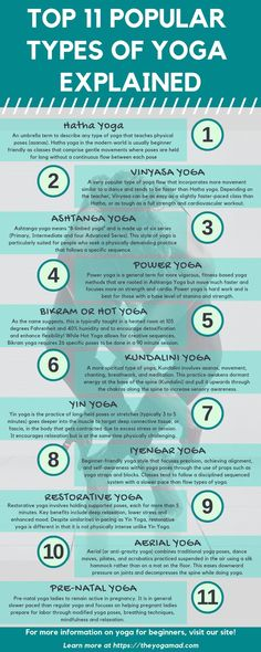Top 11 types of yoga explained - which should you do? In this post, we explain the most popular types of yoga practised today, their level of difficulty and the types of personalities and goals each yoga style suits. - The YogaMad Iyengar Yoga, Ashtanga Yoga, Vinyasa Yoga, Bikram Yoga, Kundalini Yoga, Fitness Video, Yoga Fitness, Yoga Challenge, Namaste