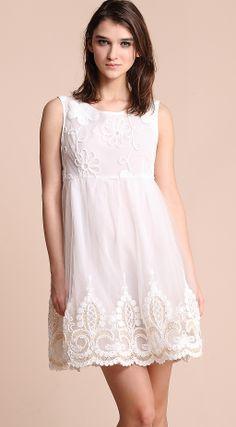 #SheInside  White Sleeveless Flower Embroidery Gauze Short Dress - Sheinside.com