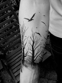 Trees and birds forest tattoo design