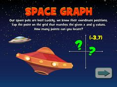 Space Graph - Can you guide the spaceship to its target? Geometry Games, Area And Perimeter, Flying Saucer, Math Games, Spaceship, Target, Positivity, Activities, Children