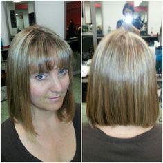 Highlights, cut & style! #diagonalforwardbob Diagonal Forward, Cut And Style, Highlights, Bob, Hair, Bob Cuts, Luminizer, Hair Highlights, Highlight