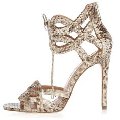 River Island Snake whipstitch lace up strappy sandals (€100) ❤ liked on Polyvore featuring shoes, sandals, cream, strappy shoes, snakeskin sandals, lace up sandals, lace up shoes and high heel sandals