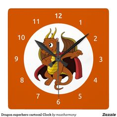 Dragon superhero cartoonl Clock