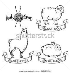 Wool alpaca angora fur animals hand drawn vintage vector set