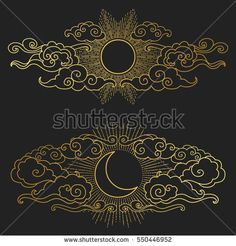 Sun and moon in the cloudy sky. Decorative graphic design elements in oriental style. Vector hand drawn illustration