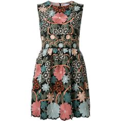 Red Valentino embroidered floral dress (£990) ❤ liked on Polyvore featuring dresses, embroidered dress, floral printed dress, floral pattern dress, multicolor dresses and floral day dress
