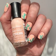 I just uploaded my peachy cactus nail tutorial to my YouTube channel! Click on the picture to see the video. #cactusnails #cactus #sallyhansen #sallyhansenca #cacti #cactinails #manicure #nailart #youtube