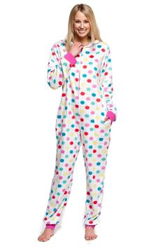 Women's Body Candy Adult Onesie Hooded Huggable Plush One Piece Pajama Multicolor Polka Dot Large Adult Pajamas, Onesie Pajamas, Pjs, One Piece Pajamas, Female Bodies, Lounge Wear, Onesies, Casual Outfits, Baby