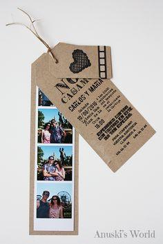 invitaciones boda originales, invitacion boda polaroid, invitacion boda fotomaton, invitacion boda kraft, invitacion boda tag