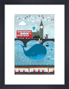 There's a Whale in the Thames! by Jessie Ford. The day the whale appeared in the Thames was a moment of great public intrigue. Seeing a whale in the Thames is not something you see every day and for a moment, London was captivated. London Illustration, Book Illustration, Art Illustrations, London Transport Museum, London Poster, Contemporary Art Prints, London Bus, London City, Pub
