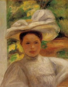 """Young Woman in a Hat Pierre-Auguste Renoir, 1895 """