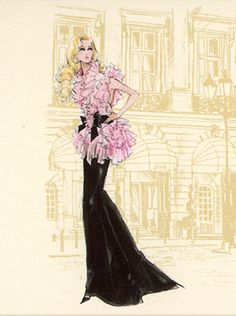 Barbie Calendar Sketch by Robert Best - Pink and Black Gown