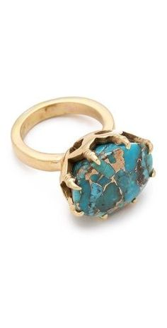 push by PUSHMATAaHA The Claw Ring  Foil-veined #turquoise stone #ring