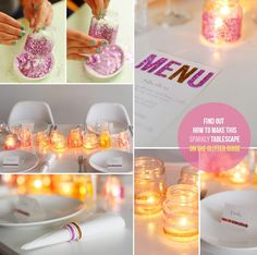 Last week we created this little DIY on how to create a sparkly tablescape with glitter votives as centerpieces. If you want to find out ...
