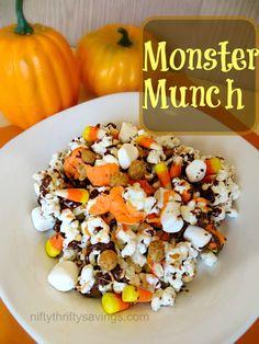 Halloween Treats: Monster Munch - Nifty Thrifty Savings Holiday Desserts, Halloween Desserts, Halloween Food For Party, Holiday Recipes, Halloween Goodies, Holiday Fun, Holiday Crafts, Halloween Treats, Happy Halloween