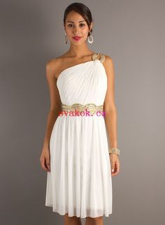 3832ceeb360d A-line Jedno rameno Flitry Kolenům Šifon Maturitní šaty Goddess Costume