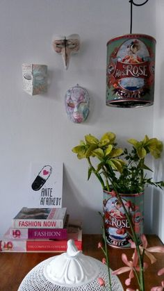 The handmade corner...hand painted masks finally hanging on the wall!