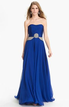 Royalty... Sherri Hill 'Gala' Embellished Strapless Chiffon Gown available at Nordstrom