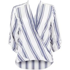Wallis Ivory Blue Stripe Wrap Blouse ❤ liked on Polyvore featuring tops, blouses, white tops, blue striped top, stripe top, ivory top and blue top