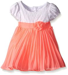 Youngland Little Girls Crochet Lace To Pleated Chiffon Occasion Dress WhiteCoral 24 Months -- Read more reviews of the product by visiting the link on the image.