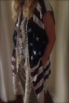 upcycled vest coverup -  zen cowgirl Red White and Blue Summer Fun
