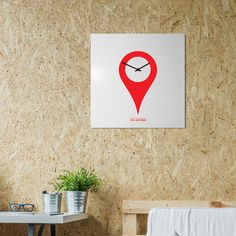 orologio-parete-minimal-design-wall-clock-youarehere-white-red-mood