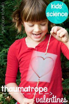 Awesome valentine science for kids! Make optical illusion thaumatrope valentines. Super fun STEM activity!