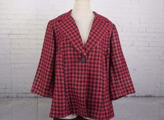 Lane Bryant Plus 18 Blazer Houndstooth One Button Poly Rayon Red Black Gold  #LaneBryant #OneButtonBlazer