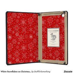 White Snowflakes on Christmas Red iPad Mini Retina Cover