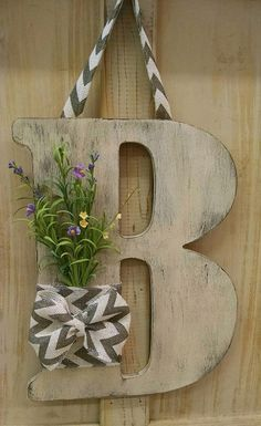 """Wooden initial wall/door hanging - 18"""" (w/o hanger) by Sunshine7Studios on Etsy https://www.etsy.com/listing/241376898/wooden-initial-walldoor-hanging-18-wo"""