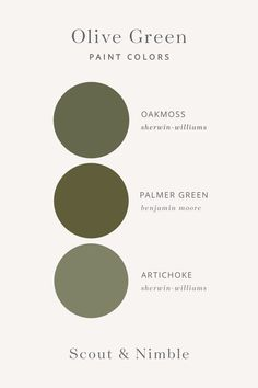 Green paint colors + olive green paint colors + green in home design + oak moss by sherwin williams + palmer green by benjamin moore + artichoke by sherwin williams Green Wall Color, Green Paint Colors, Green Colour Palette, Cabin Paint Colors, Rustic Paint Colors, Ceiling Paint Colors, Wall Colors, Color Palettes, Olive Green Paints