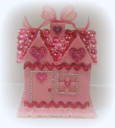 Pink Trinket Box, Treasure Box, Keepsake Box, Pink House Box, Valentine Box. $32.00, via Etsy.