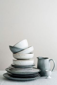 Broste Copenhagen - Medium Grey and Blue Glazed Stoneware Nordic Sea Salad Bowl - Grey/Blue Home Decor Accessories, Decorative Accessories, Cerámica Ideas, Decor Ideas, Broste Copenhagen, Nordic Interior, Nordic Home, Nordic Style, Nordic Design