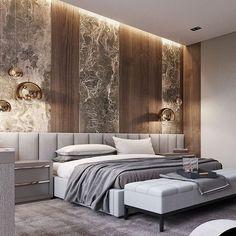 Grey bedroom with extra wide headboard