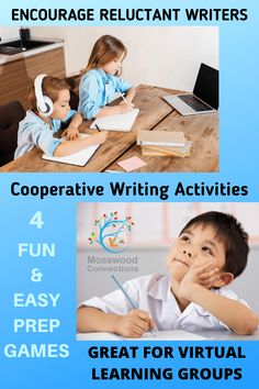 Cooperative Writing Activities - 4 writing activities that encourage reluctant writers #mosswoodconnections #writing #cooperativegames #education #homeschooling Writing Skills, Writing Activities, Educational Activities, Activities For Kids, In Writing, Cooperative Games, Learning Games For Kids, Encouragement, Teaching