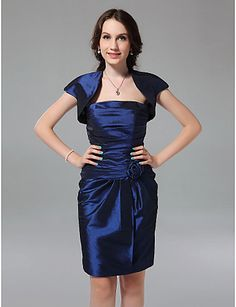 Sheath/ Column Strapless Knee-length Taffeta Bridesmaid Dress with a Wrap