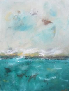 Blue+Green+Ocean+Abstract+Original+Painting+by+lindadonohue,+$345.00