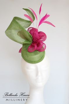 Sinamay Hat in Lime and Hot Pink by BELLINDA HAASE #millinery #hats #HatAcademy