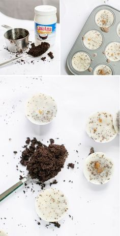 DIY Coconut Coffee Scrub So you can combine 1/2 cup of coconut oil (microwave briefly to liquify) with 1/2 cup of fresh coffee grounds and then divide the mixture into muffin tins or ice cube trays.