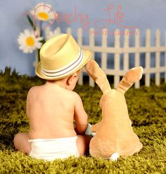 Easter Spring Baby Photos ***Would like to get ears for the teddy bear (have the bear sit on a box) and do this for easter! Spring Pictures, Easter Pictures, Holiday Pictures, Baby Pictures, Toddler Photography, Life Photography, Photography Ideas, Baby Calendar, Calendar Ideas