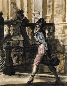 Downtown Walk, Reginald Marsh. American Realist Painter (1898 - 1954)