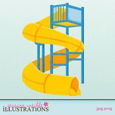 Twisty Curved Water Slide - $1 Clipart Singles - JW Illustrations: Clipart, Graphic Design, Cute Clip Art
