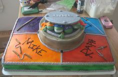 """Teenage Mutant Ninja Turtles Cake- I only want one level though so instead of names have each turtle face in their section (Maybe with their first letter in a circle like on the belts) with weapons and have the middle be the sewer cover with """"Joey"""" and a 3 on it."""