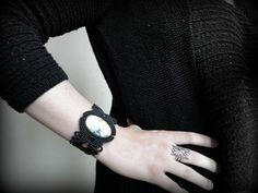 Green Labradorite Macrame bracelet. Black woven cuff bracelet